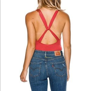 NWT Free People Fitted Red Open Back Bodysuit